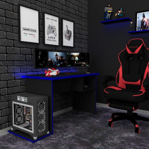 Mesa P/computador/notebook/desk Game Preto/azul/120x60mt