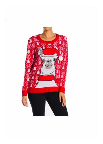 Suéter Navideño Llama , Suéter Navidad Mujer