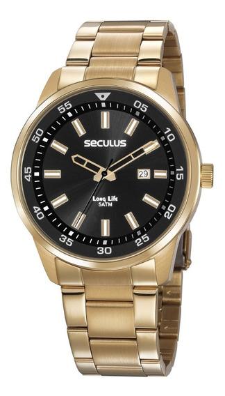 Relógio Masculino Seculus Dourado 20786gpsvda3 Fundo Preto
