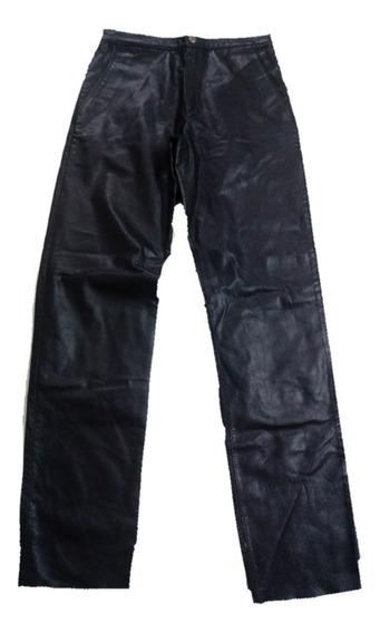 Pantalon Negro De Cuero Legitimo