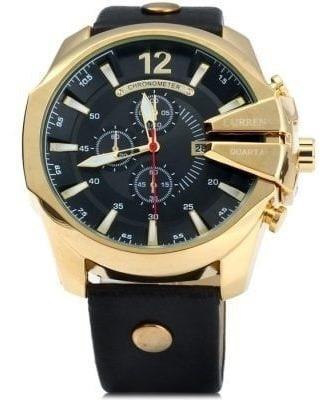 Relógio De Ponteiros Analógico Dourado Com Preto Curren 8176