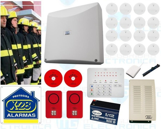 #121 Kit Alarma Contra Incendio X-28 Inalámbrica 16 Zonas