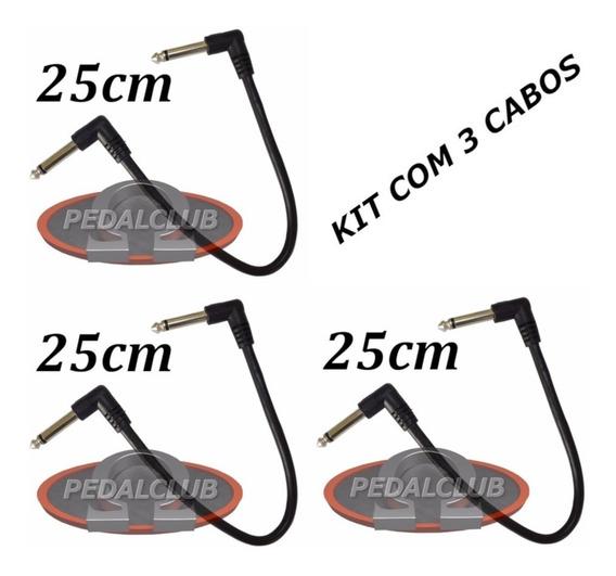 Kit 3 Cabos P10 P10 Cabo Guitarra Pedal Fonte Pedais