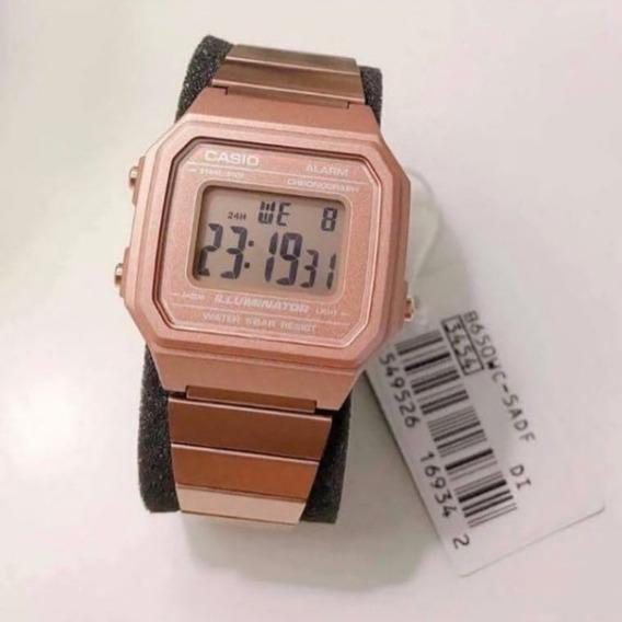 Relógio Cassio Feminino Rosa B650wd-1adf Digital Rose Vintage Retro Blogueiras - Promoção 50% Off