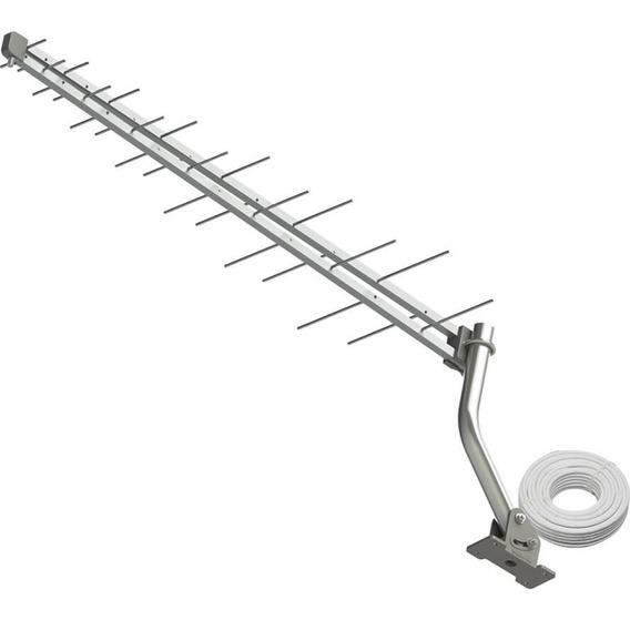 Kit Antena Externa Log 28 Elementos 4k Digital Hdtv Externa