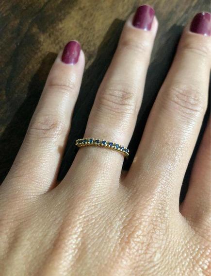 Anel Em Ouro 18k Com 9 Pedras De Safira Azul Natural (750)