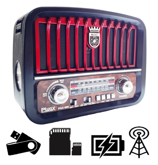 Radio Am Fm Sw Aux Retro Vintage Usb Bateria Pilha Lanterna!