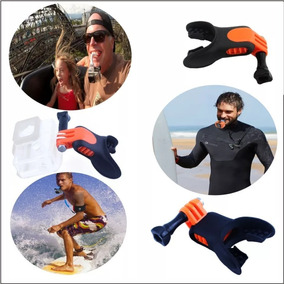 Suporte Surf Gopro Go Pro De Água Float Boca Silicone 5/6/7