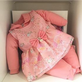Tip Top Macacao Longo Paraiso Moda Bebe Menina Luxo Ref 8456