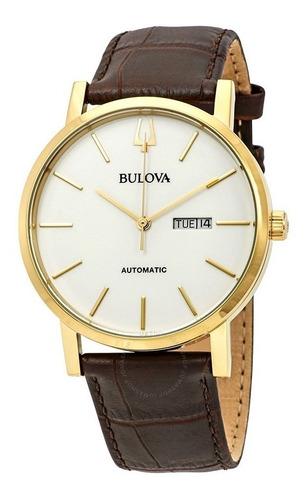 Relógio Bulova Masculino Automático 97c107 Dourado Couro