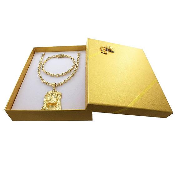 Cordão Banhado A Ouro 18k + Pulseira + Box + Rosto De Cristo