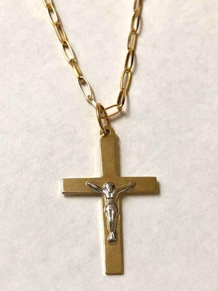 Corrente Masculina 60 Cm Pingente De Cruz Jesus Ouro 10k 416