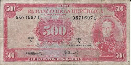 Imagen 1 de 2 de Colombia 500 Pesos Oro 7 Agosto 1973