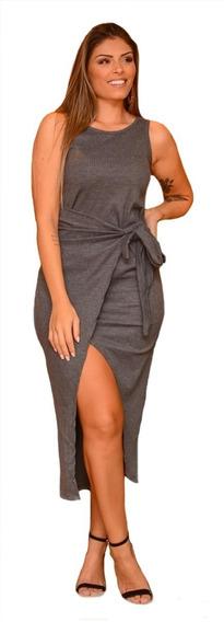 Vestido Canelado Plus Size Laço Nó Transpassado Verão Até 54