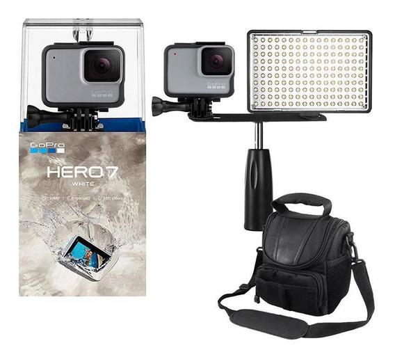 Gopro Hero 7 White Câmera + Iluminador Led Com Garra + Bolsa