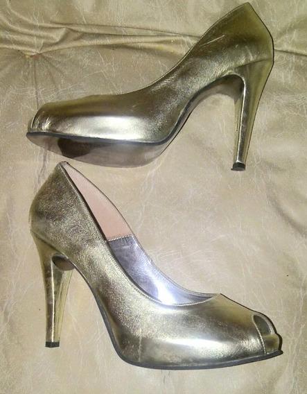 Zapato Stillettos N 38 Dorado Sandalia De Cuero Eco Oferta