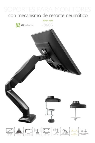 Rack Soporte Brazo Neumático Monitor 17 A 27 Klip Xtreme