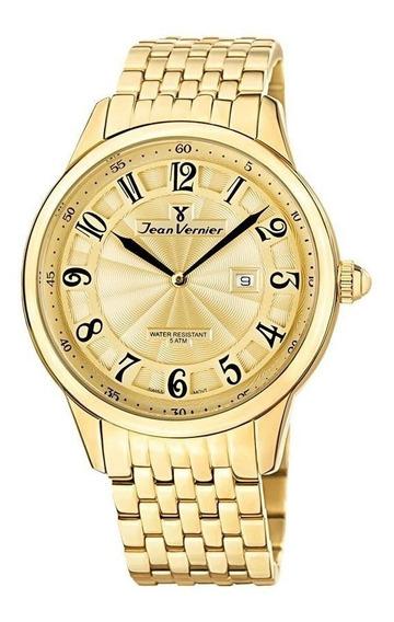Relógio Jean Vernier Masculino Ref: Jv1128 Social Dourado