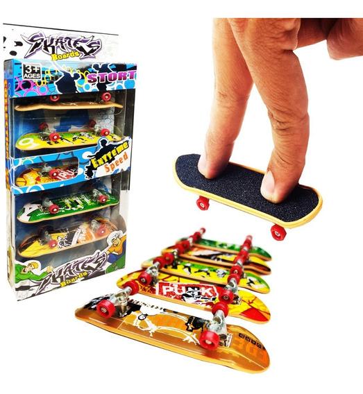 Skate De Dedo 5un. Fingerboard Sk8 Plástico - Com Lixa