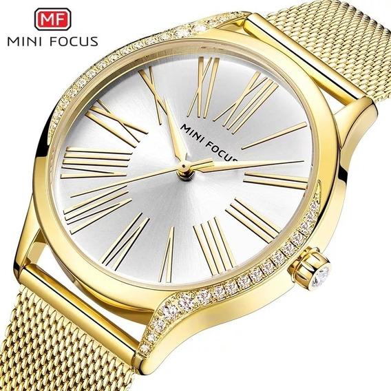 Relógio Minifocus 0259l Feminino Original Dourado Rose Preto