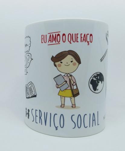 Caneca Porcelana Profissão Serviço Social  Assistente Social