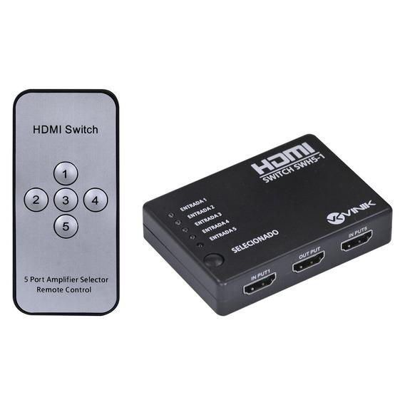 Switch Hdmi 5 Entradas X 1 Saída 1.3v 3d 1080p Vinik