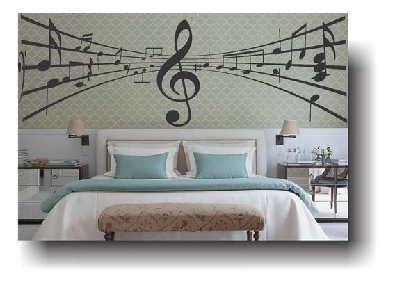 Adesivo Decorativo Parede Nota Musical Clave Pauta 1,5 Metro