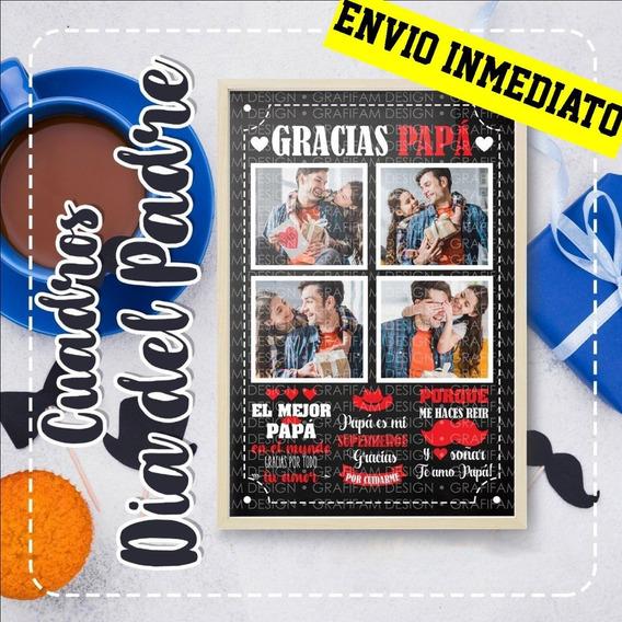 Kit Imprimible Cuadros Día Del Padre 2 Plantillas Editables