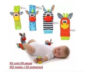 Kit Sozzy Meias E Pulseiras Chocalhos Novo Bebê Importado