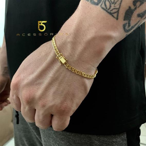 Pulseira Banhada A Ouro Masculina 12x Sem Juros Lacraia 4mm