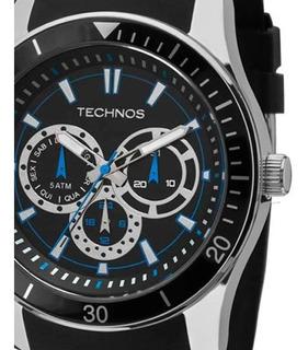 Relógio Masculino Technos Pulseira De Silicone Preto Detalhes Azul 6p29aiq/8p Original Com Garantia