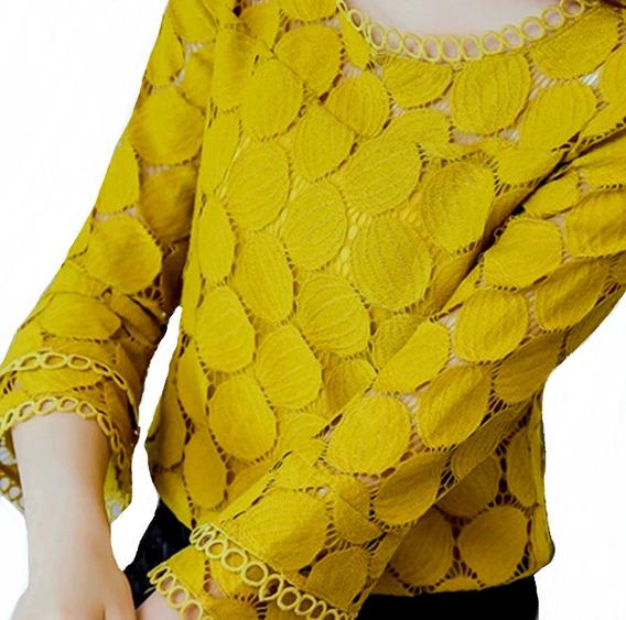Camisa Feminino Blusa Social Renda De Luxo Foto Real