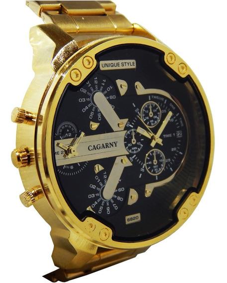 Relógio Masculino Dourado Cagarny Original Frete Grátis