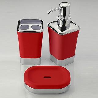 Set De Baño 3 Piezas Rojo Portacepillos Dispenser Jabonera