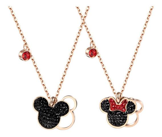 Collar Dije Mickey Minnie Dama Titanio Acero Inoxidable