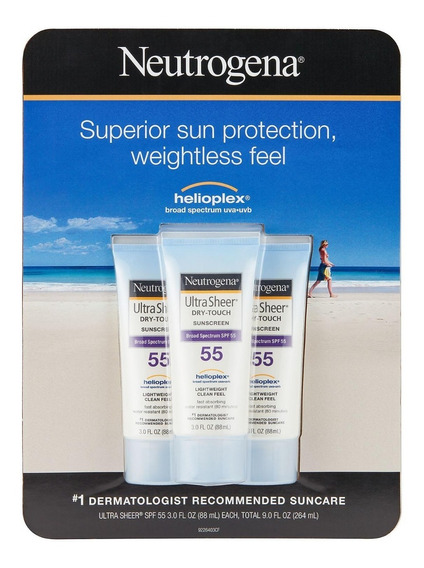 Protector En Crema Neutrogena 55 Spf (3 Unidades)
