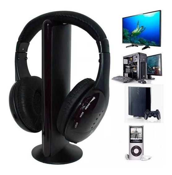 Fone Ouvido Sem Fio 5 In 1 Mp3 Dvd Fm Skype Wireless + Nf