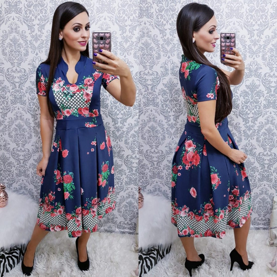 Vestido Midi Estampado Godê - Roupa Feminina Moda Evangelica