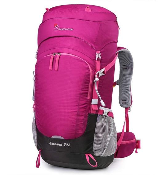 Mochila De Campismo Senderismo Mountaintop 50 Litros Púrpura