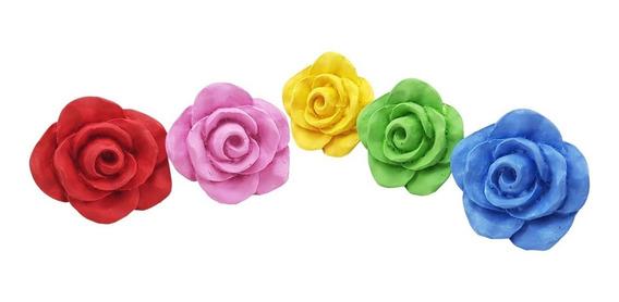Puxador De Gaveta Flor Rosa Colorido 4 Cm De Resina Kit C/6