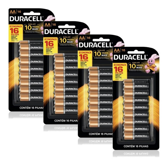 Kit Pilha Aa Duracell 64 Unidades Econopack Cartelas C/16