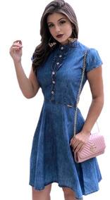Vestido Jeans Gode Medios Casuais Roupas Femininas Barato