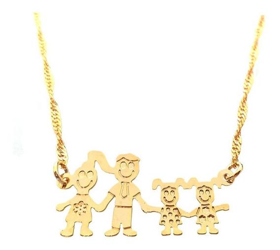 Colar Corrente E Pingente Família Feliz Mãe Pai E Duas Filhas Folheado A Ouro