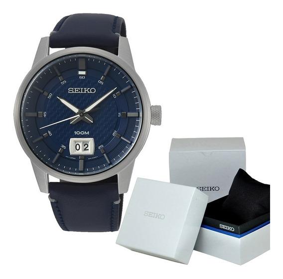 Reloj Hombre Seiko Sur287p1 Cuarzo Piel Azul Caballero