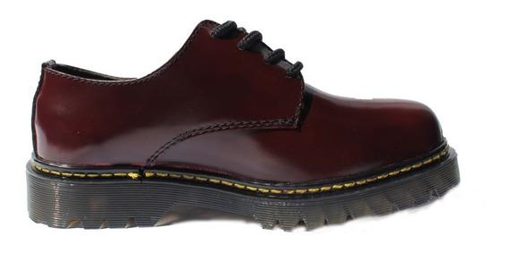 Zapato Tipo Dr. Martens ( Vino Brilloso )