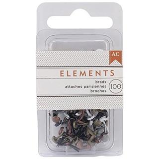 American Crafts Elements 0125inch Brads Mini Metalico 100pac