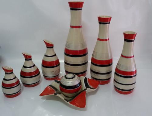 Imagem 1 de 4 de Conjunto Cerâmica Jogo Vaso Trio Redondo & Mega + Fruteira T