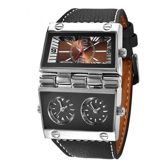 Relógio De Pulso Marrom Masculino Horário Oulm 9525 Promoção