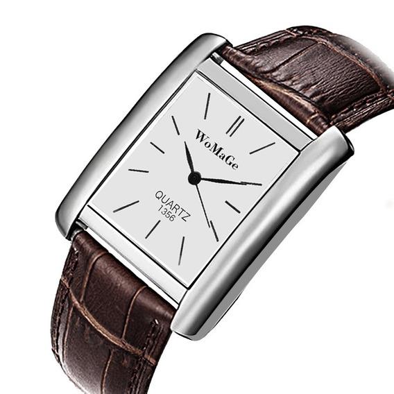 Relógio Retangular Prata Unissex Pulseira Marrom Rg009u