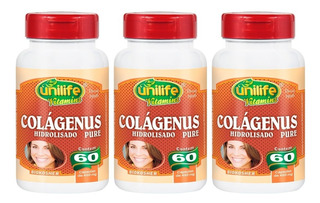 Colagenus Puro Hidrolizado 60 Cápsulas Unilife Kit 3 Unidade